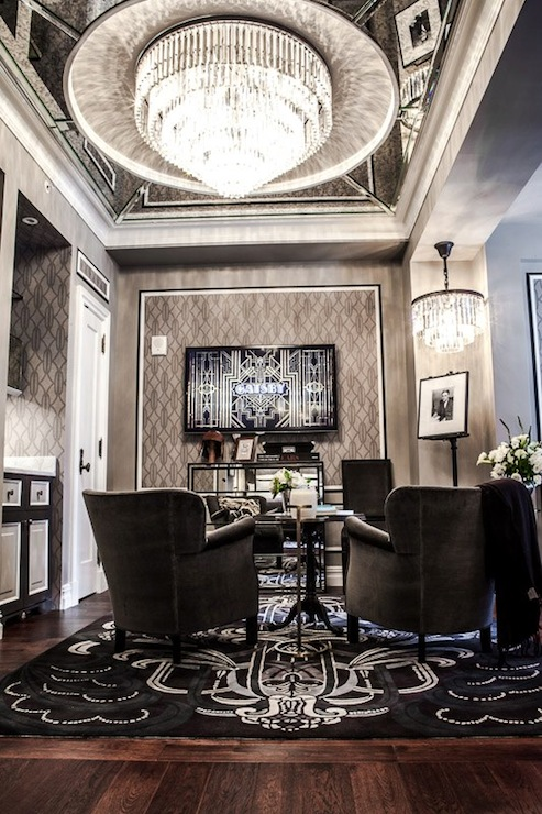 New York Plaza Hotel Gray Living Room With Mirrored Ceiling Punctuated Restoration Hardware 1920s Odeon Glass Fringe 7 Ring Chandelier Iron Over