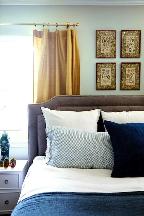 Gold Curtains Eclectic Bedroom Benjamin Moore Gray