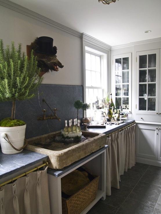 rustic stone sink cottage kitchen