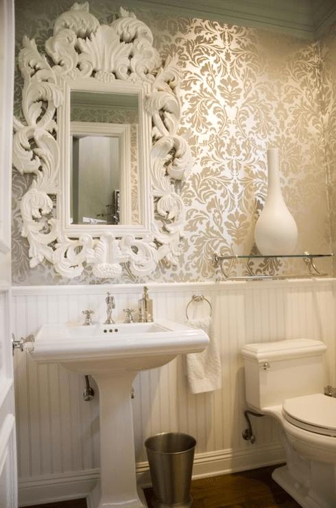 White Baroque Mirror French Bathroom Maison Luxe Home