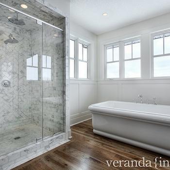 Wood Herringbone Floor Transitional Bathroom