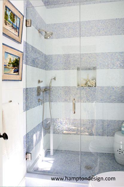 White And Blue Tile Shower Contemporary Bathroom