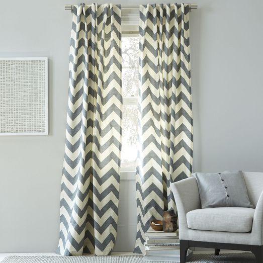 Cotton Canvas Zigzag Curtain Feather Gray West Elm