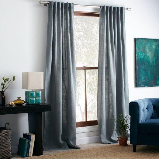 Burlap Curtain Blue Sage West Elm
