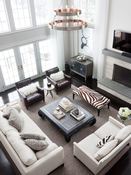 Zebra Bench Transitional Living Room Susan Glick Interiors