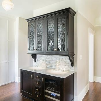 Leaded Glass Pantry Cabinets Design Ideas