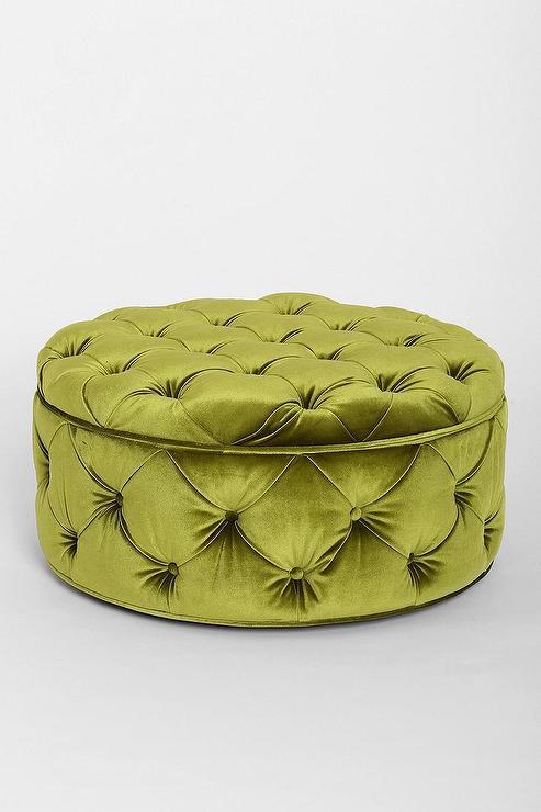 green button tufted large round velvet