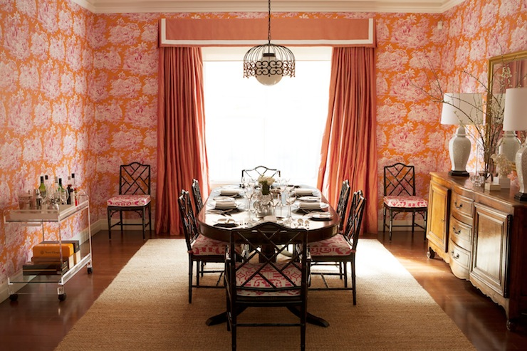 Orange Curtains Eclectic Dining Room Diane Bergeron