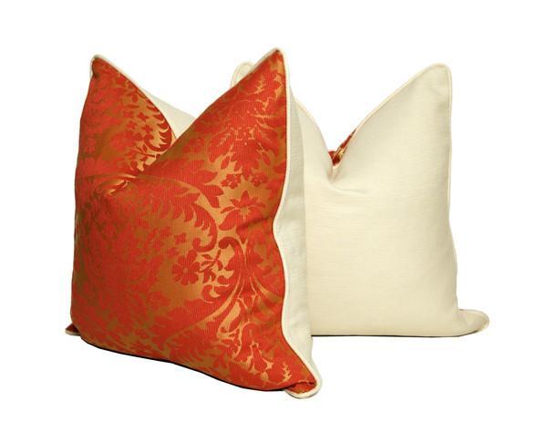 orange and gold damask throw pillows