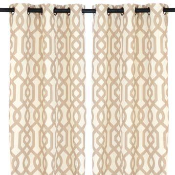 taupe geometric print gatehill curtain