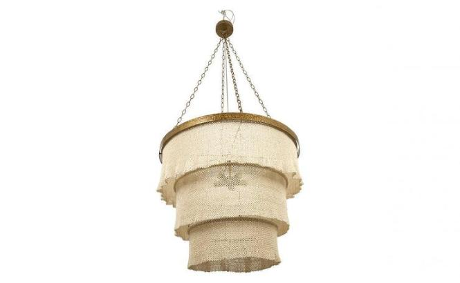 Woven Coco Beads 3 Tiered Gilda Chandelier