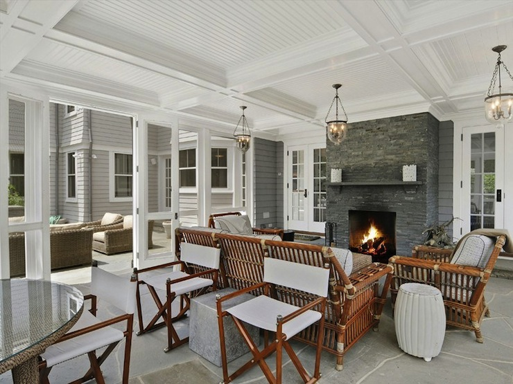 Sunroom With Fireplace Transitional Deckpatio