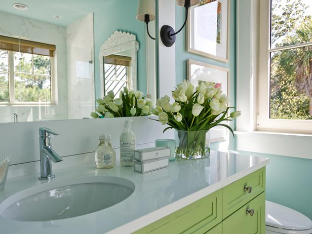 Green And Turquoise Blue Bathroom Cottage Bathroom