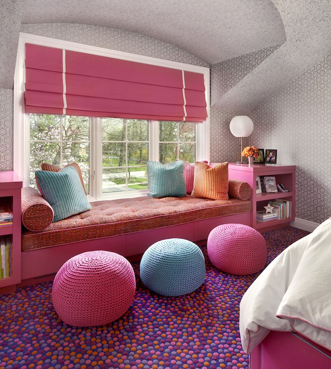 Kids Window Seat Contemporary Girls Room Suzanne Lovell