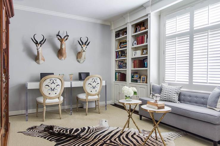 EJ Interiors - dens/libraries/offices - transitional, casework, white wood, zebra rug, animal, taxidermy, home office, blue, gray, white, books,
