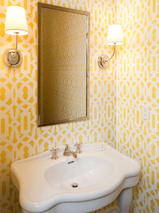 Trellis Stencil Transitional Bathroom Francesca