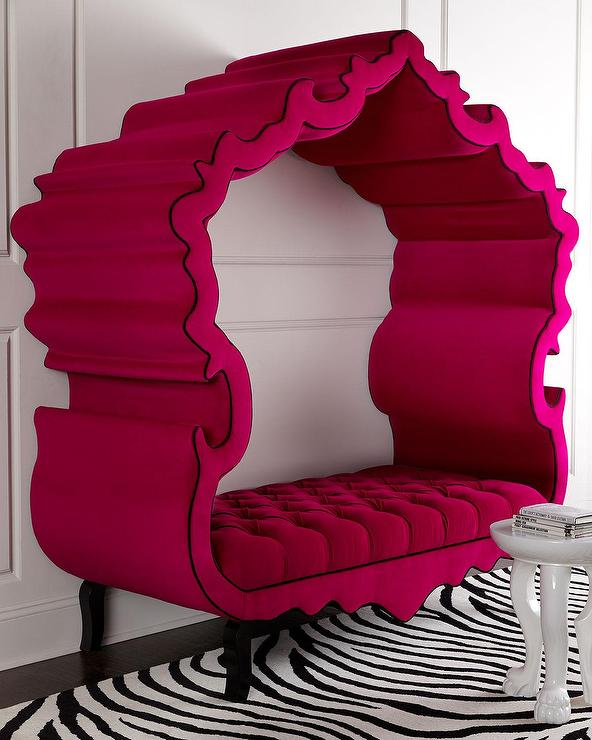 Haute House Hot Pink Tufted Canopy Thebes Bench
