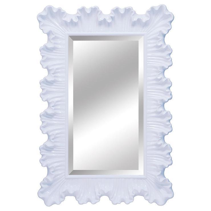 Ardant Pearl White Ruffle Edge Mirror