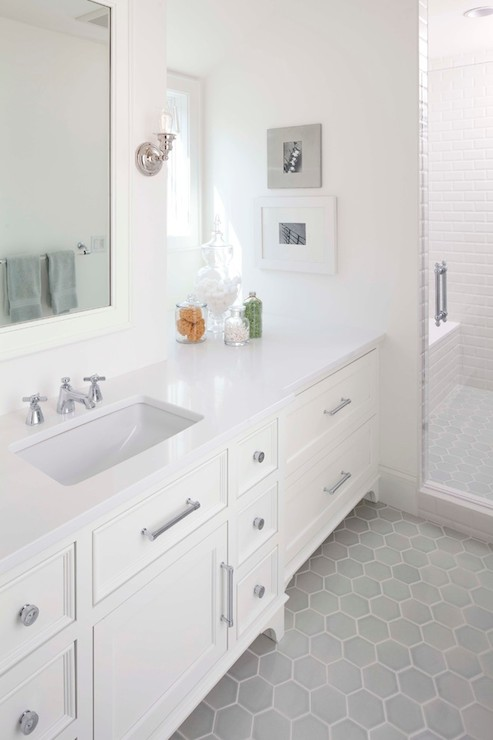gray and white hex tile design ideas