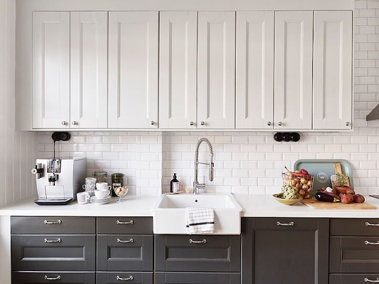 White Upper Cabinets Dark Lower Cabinets Transitional