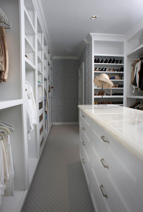 Light Gray Built In Cabinets With Gold Hardware Transitional Closet
