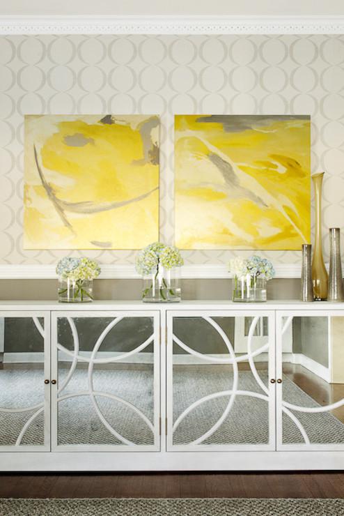 Mirrored Buffet Cabinet Contemporary Dining Room Karen B Wolf Interiors