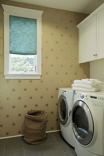 Wallpaper For Laundry Rooms Transitional Laundry Room