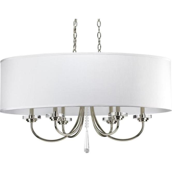 Drum Shade Silver And Crystal Six Light Oval Chandelier