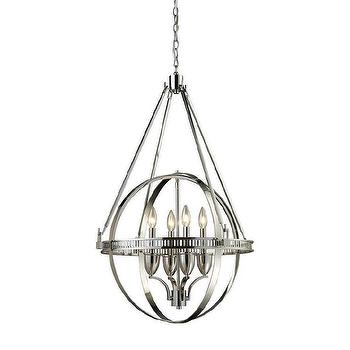 Mirrored Crisscrossing Iron Rings Chandelier Potterybarn Round Hemispheres Four Light Silver
