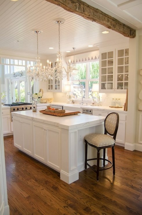 Kitchen With Beadboard Ceiling French Kitchen Benjamin Moore Ballet White Apartment Therapy