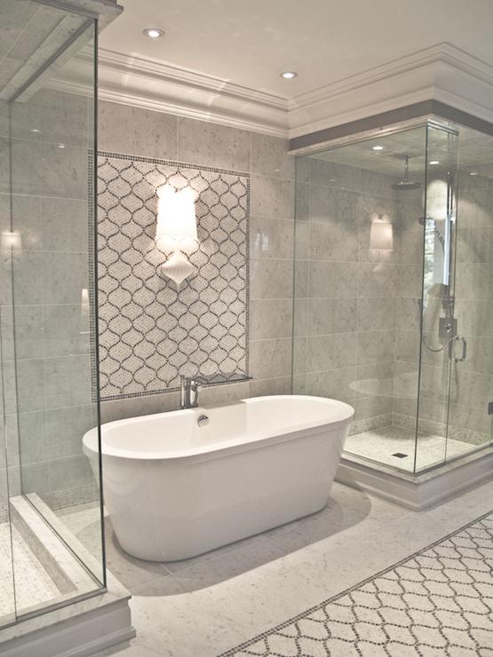 Arabesque Backsplash Contemporary Bathroom Terra Verre