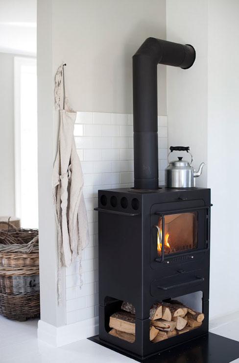 wood burning stove vintage kitchen