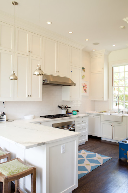 White Shaker Kitchen Cabinets With Gold Hardware Transitional Kitchen