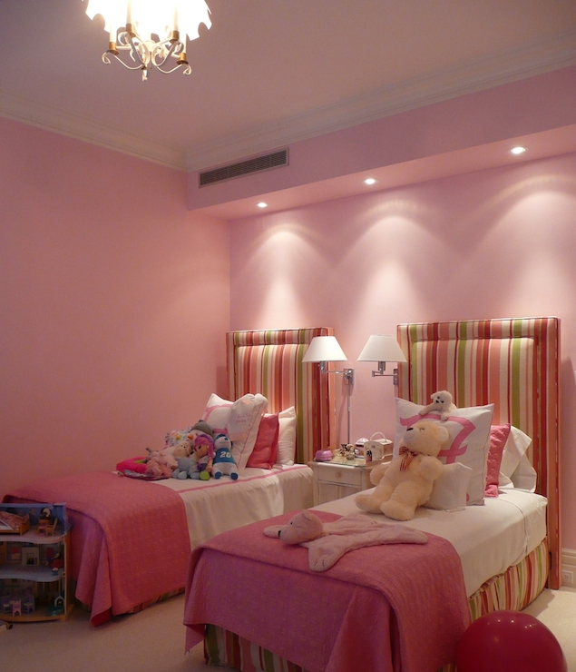 Striped Kids Headboards Traditional Girls Room The