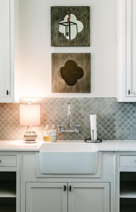 gray arabesque tiles contemporary