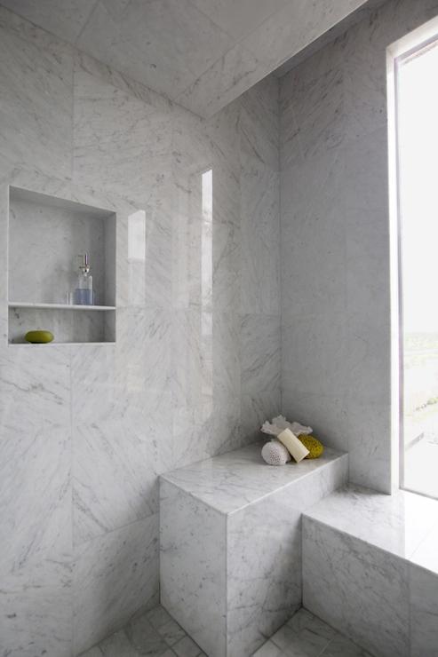 Marble Walk In Shower With Stainless Steel Shower Niche