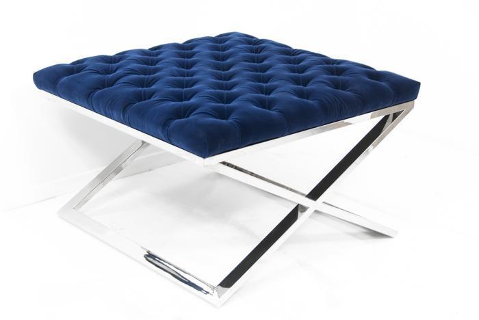 tufted x base blue ottoman