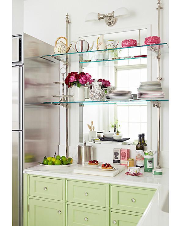 Glass Kitchen Shelves Transitional Kitchen One Kings