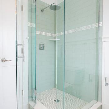 Geometric Tile Floor Transitional Bathroom