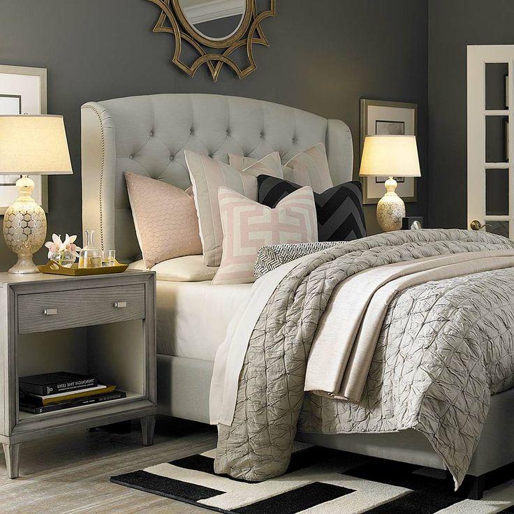 Grey Nightstand Transitional Bedroom