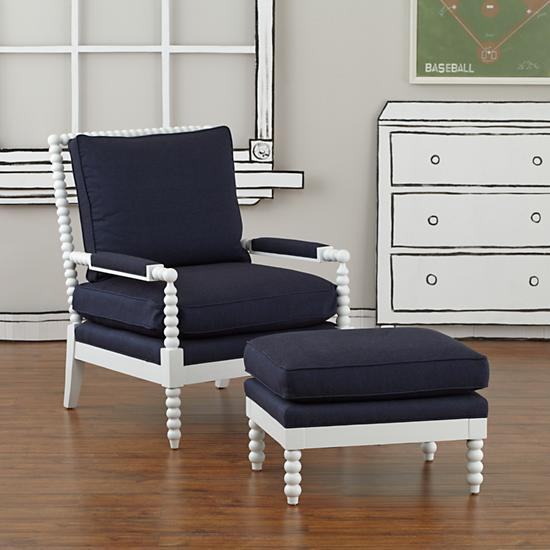 Old Hickory Tannery White And Blue Royal Spindle Chair