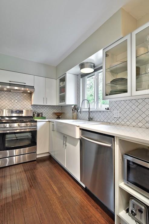 Beveled Arabesque Tile Glossy White Design Ideas