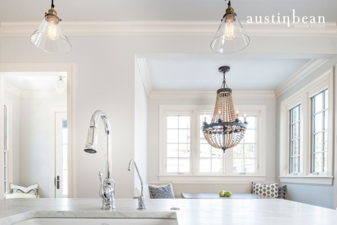 View Full Size Dining Nook Features Pottery Barn Elena Wood Bead Chandelier
