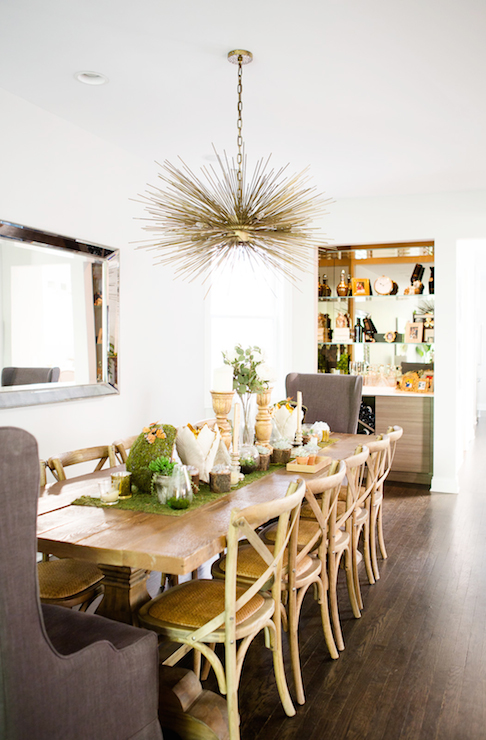 Alison Victory Kitchen Crashers Gorgeous Dining Room Features Brass Sea Urchin Chandelier Illuminating Restoration Hardware Salvaged Wood Trestle