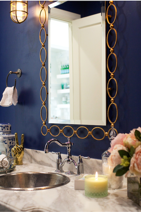 Navy Blue And Gold Bathroom Accessories