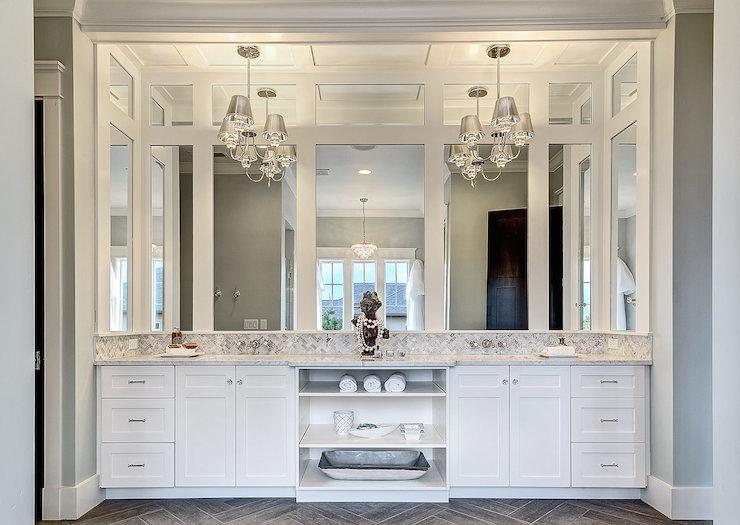 Chandelier Over Vanity Transitional Bathroom Clark