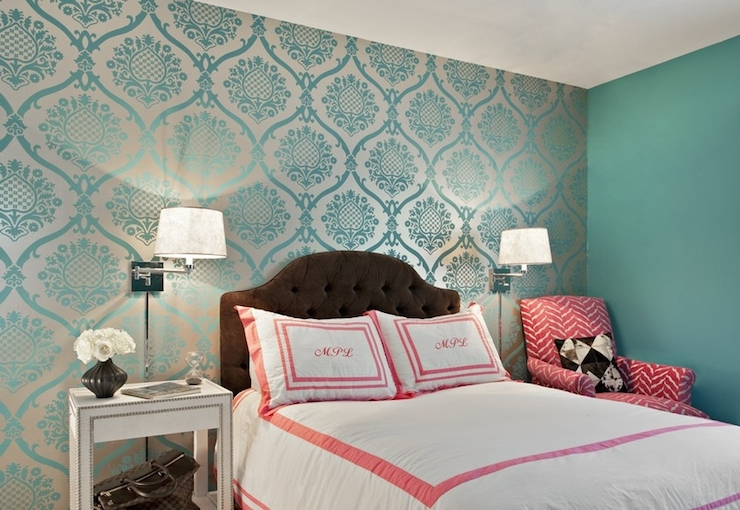 Metallic Accent Walls Silver Damask On Teal Bedroom Wall Pink And White  Bedding