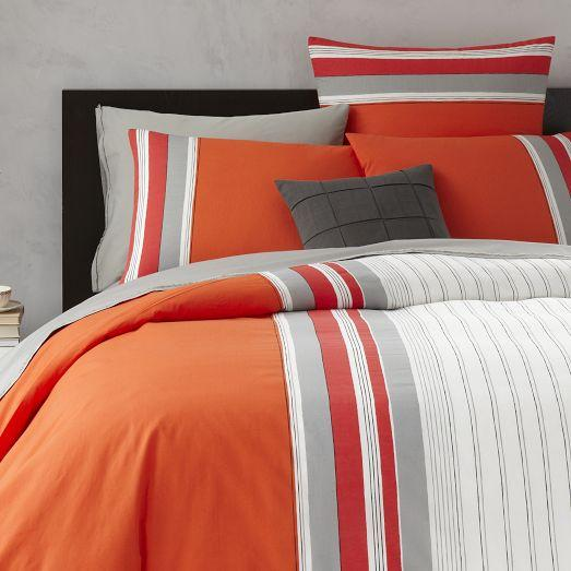 Thick N Thin Orange And Grey Stripe Duvet Cover And Shams