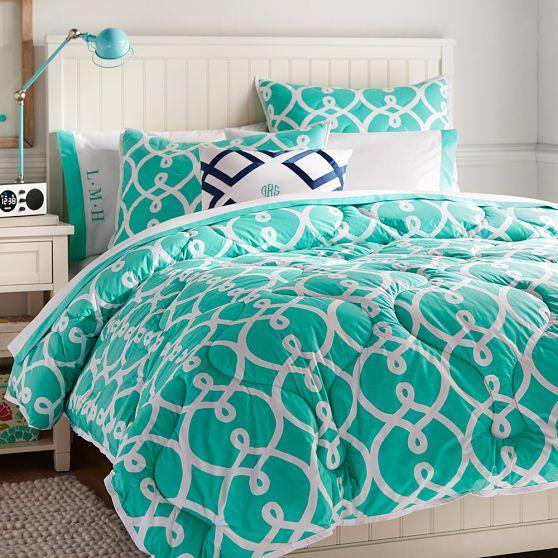 Totally Turquoise Trellis Comforter And Sham