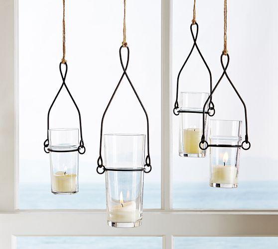 Wire Glass Black Hanging Votive Holder